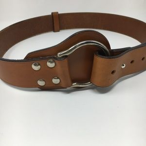 Chico's brown leather belt size M/L silver tone